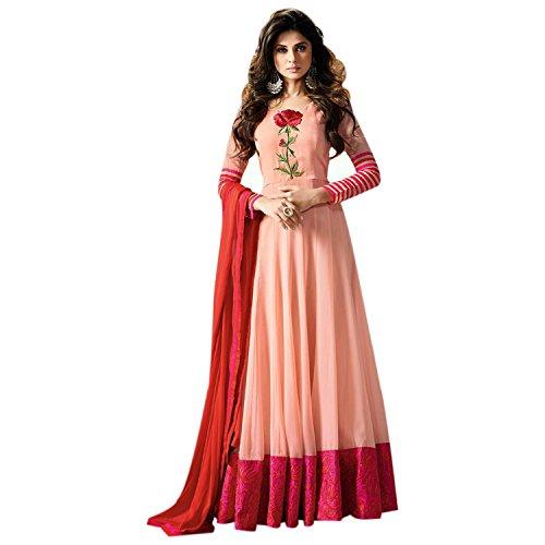 Aryan Fashion Women Georgette Wedding Emboirdery Semi-Stitched Salwar Suit (AFS-AAB11036_Peach)