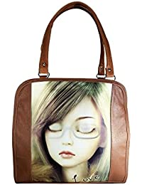 Tycos Leather Handbag With Picture For Women Brown