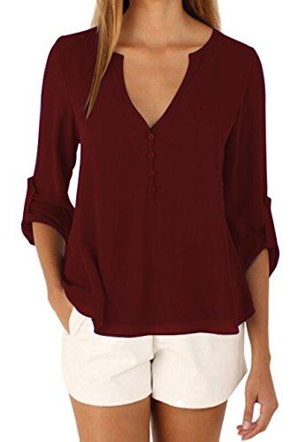 OMZIN Damen Einfarbig Chiffon Tops Bluse Damen Lose Langarm V-Ausschnitt Knöpfe Decor Asymmetrisch Shirts Tops Burgundy XL