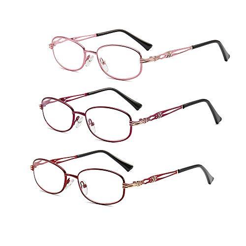 Rahmen Lesebrille Preiswert 3 Pack Feder Scharniere Leser Klassische Vintage Brille Metall Feder Hings Qualität Saubere Linse Leichte Bequeme Runde Rahmen Eyewear,3.0