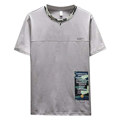 REALIKE Herren Kurzarmshirt Oder Rundhals T-Shirts Vintage Beiläufige Kurze mit Buchstabenmuster Hülsen- T-Stücke Freizeit Baumwolle Hemd Tops Oversize Basic Mehrere Farben M-3XL Oberteile