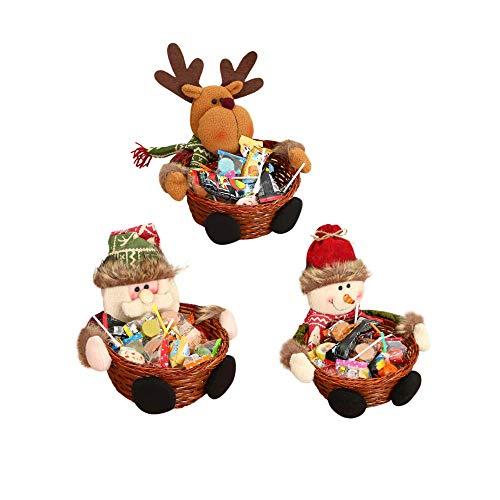 ICYANG 3 Teile / los Weihnacht Süßigkeiten Lagerung Korb Bambus Holz Tischdeko Event Geschenkboxen...