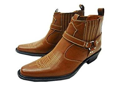 mens-us-brass-tan-classic-texas-cowboy-western-harness-ankle-boots-sizes-6-12