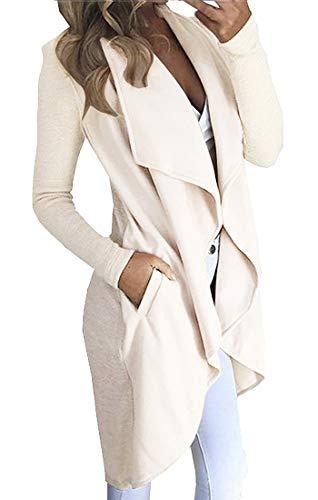 Vertvie Damen Offene Cardigan Langarmshirt Wasserfall Strickjacke Asymmetrisch Strickmantel Mantel Maxi Trenchcoat (Beige, L)