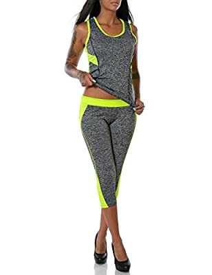 Damen Yoga Sport-Set Fitness Tank Top Capri-Hose T-Shirt (weitere Farben) No 14056