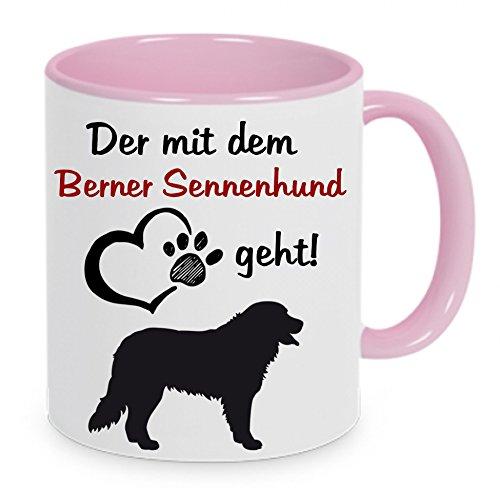 crealuxe Der mit dem Berner Sennenhund geht - Kaffeetasse mit Motiv, bedruckte Tasse mit Sprüchen oder Bildern (rosa)