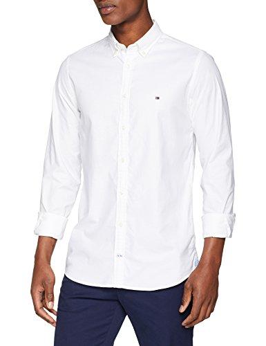 Tommy hilfiger core stretch slim oxford shirt, camicia uomo, bianco (bright white 100), large