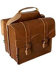 Double sac pour le vélo, pour porte-bagages arrière. Sacoche Besace pour velos. Vintage Style. Traitement imperméabilisant. Simil Cuir.