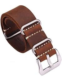 Carty Vintage hecho a mano Crazy Horse–Cubierta de piel ZULU Nato 20mm/22mm/24mm de repuesto reloj banda correa, color marrón