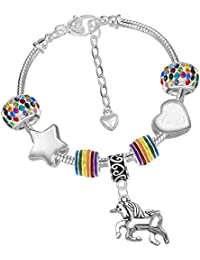 Girls Magical Unicorn Sparkly Rainbow Charm Bracelet Set with Greeting Card and Gift Box