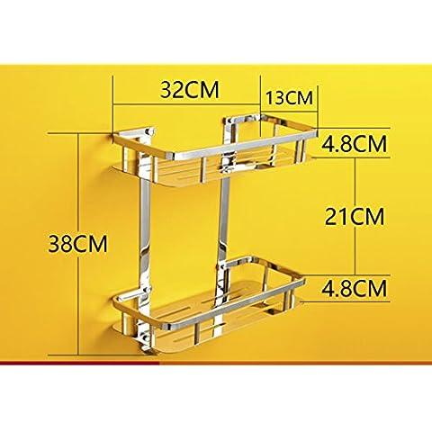 Cuarto de baño WC soporte angular esquinas cuadradas cesta/Acero inoxidable parrillas/ estante de la esquina baño litera individual-B