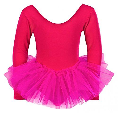 """tanzmuster Kinder Ballett Trikot Ballettanzug """"Alea"""" mit Tutu aus 3-lagigem Tüll. Wunderschönes Ballettkleid mit langen Ärmeln für die kalten Tage in pink, Größe:104/110"""