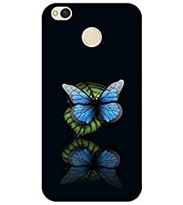 For Xiaomi Redmi 4 beautiful butterfly, butterfly, black background, pattern Designer Printed High Quality Smooth Matte Protective Mobile Pouch Back Case Cover by BUZZWORLD