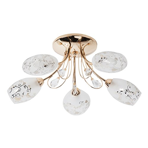 Lampadario da soffitto moderno decorativo colore oro lucido metallo vetro opaco gocce cristallo con pattern di fiore elegante urbano 5-bracci Ø50CM 5*60W E14-escl