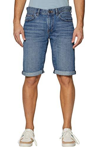 edc by ESPRIT Herren 999CC2C804 Shorts, Blau (Blue Medium Wash 902), W34(Herstellergröße: 34) Wash Denim Hose