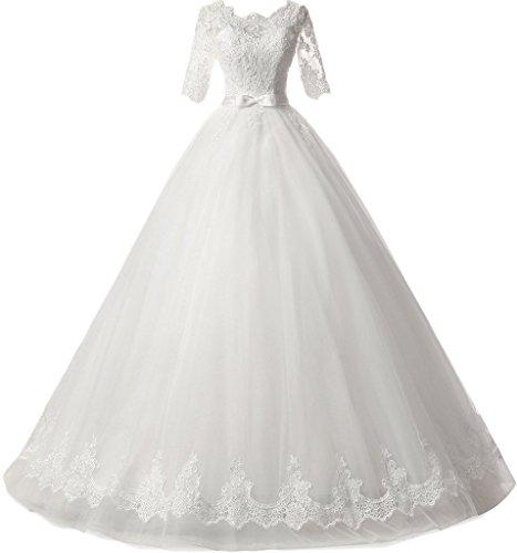 Ivydressing Damen Spitze&Tuell Halb Aermel Duchesse-Linie Hochzeitskleider Brautkleider-36-Weiss