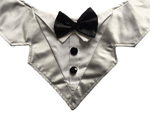 Vedem Formale Hund Tuxedo Bandana mit Fliege Schleife Verstellbar Pet Satin Dreieck Lätzchen Schal für Hochzeit, Party und Geburtstag, S, Grau Formale Schal
