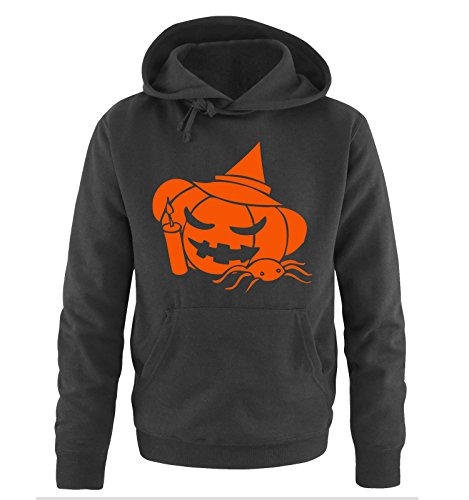 Comedy Shirts HALLOWEEN KÜRBIS 1 -Herren Hoodie in Schwarz/Orange Gr. L