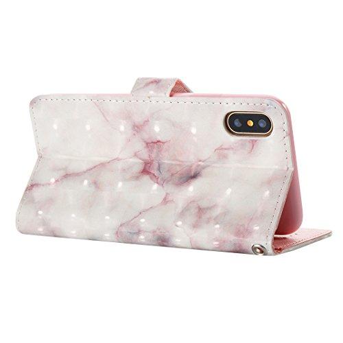 iPhone X Hülle, Asnlove Premium Leder Schutzhülle PU Leder Flip Tasche Case 3D Muster Serie Book Style mit Integrierten Kartensteckplätzen und Ständer für Apple iPhone 10 / iPhone X 5.8 Zoll 2017 - Kü Beige