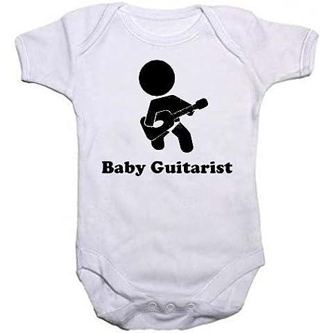 A-Tutina da bambino con la scritta Baby chitarrista, con immagine di un ragazzo o ragazza che suona la chitarra dei vestiti 8 cm. per un compleanno, battesimo o idea regalo per neonati, body, Tuta intera