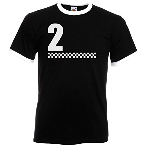 2 Tone Chequered Design Black Ringer T Shirt