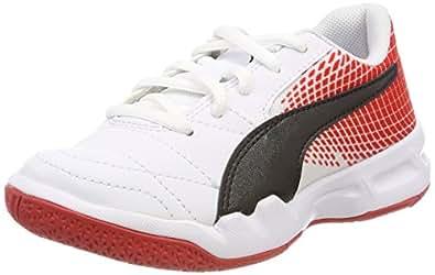 Puma Unisex-Kinder Veloz Indoor NG V JR Multisport Schuhe, Weiß White Black-Flame Scarlet 05, 38.5 EU