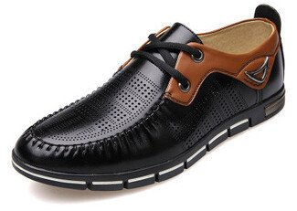 Men's Imitation Leather Moccasins Flat Oxford Shoes black with hole