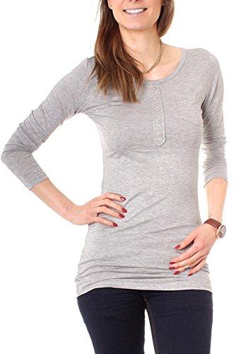 Easy Young Fashion Damen Longshirt Knopfleiste Slim Fit Uni Grau