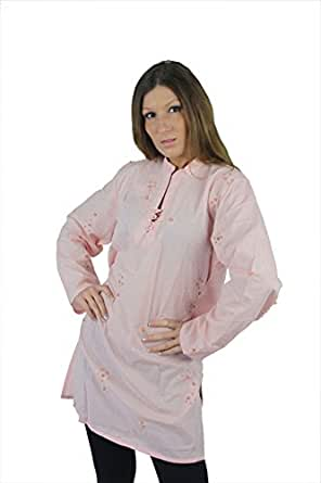 Tunique femme voile top/chemisier-robe tunique taille xXL (rose)