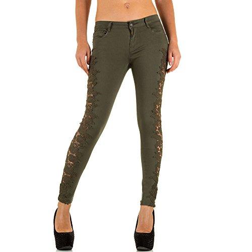 Spitzen Hüft Skinny Jeans Für Damen bei Ital-Design Khaki