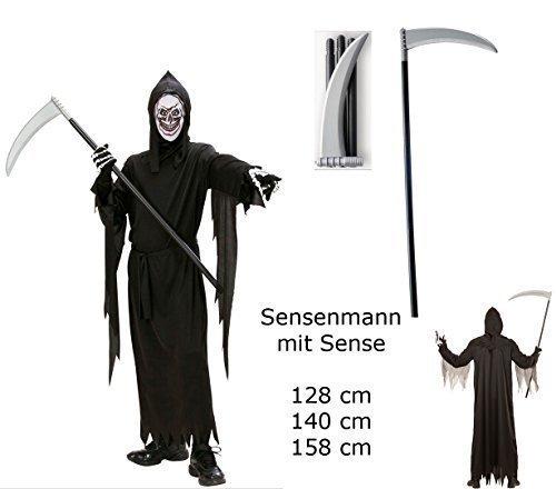 nmann + Sense - Gr. 128 cm - Robe Gürtel Maske Kapuze Sense Halloween Verkleidung (Kinder Sensenmann Kostüm)