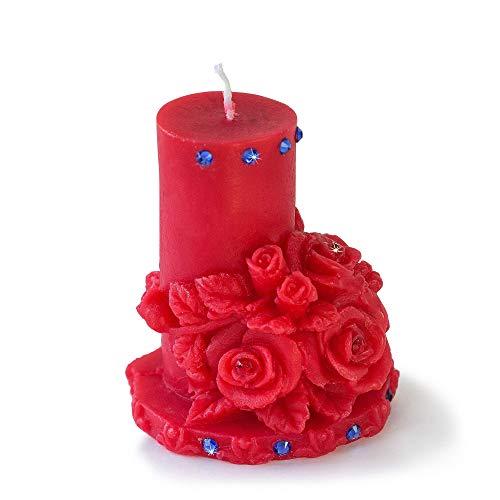 Brothers bears 9,4cm candela ♦ lusso fiori ♦ cristalli swarovski decorazione ♦ 100% realizzato a mano, candela