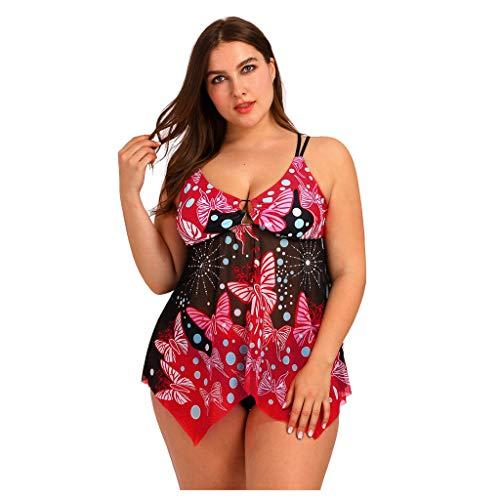 LHWY Bikini Tankinis Trikinis Conjunto De Bikini con Estampado Boho Trajes De BañO De Dos Piezas Traje De BañO Playa Tankini Swimsuit Monikini Bañador (Rojo L)