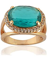 Sanaa Creations Gold Plated Blue Diamond Ring For Girl's And Women's