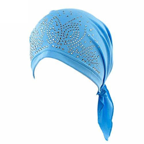 Bluelans® Women's Schal Pre Tied Chemo Hut Mütze Turban Kopftuch für Haarverlust, Krebs, Chemotherapie (Blau)