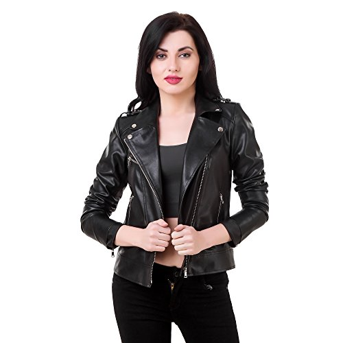 Generic Women's Faux Leather Retail Jacket for Roadies ,Large Size (LRN00146, Black)