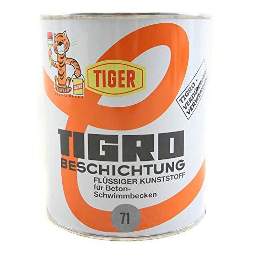 Tiger Tigro Beschichtung flüssiger Kunststoff für Beton- Schwimmbecken Seidenmatt 1 Liter Farbwahl, Farbe:Hellgrau