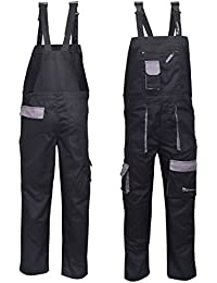 515e0d7944fd NORMAN Black Contrast Painters Work Wear Bib and Brace Overall Coverall…