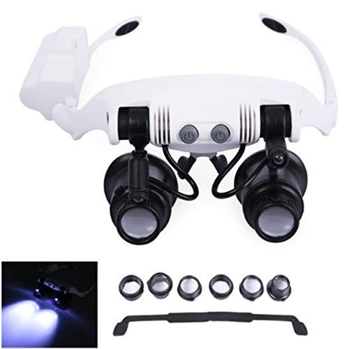 DEjasnyfall Leichte faltbare Stirnband Design Fernglas Lupe Gläser LED Lupe mit 2 LED-Licht für Schmuck Reparatur (schwarz & weiß)