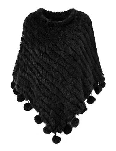 Ferand - poncho caldo elegante mantella inverno in vera pelliccia di coniglio maglia con pompoms - donna - taglia unica - nero