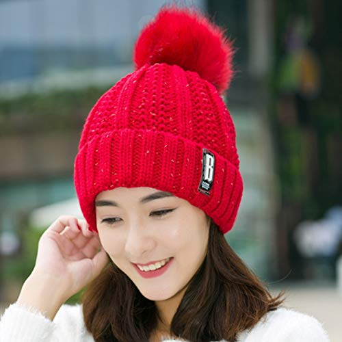 Girl Kostüm Scarlet - Yhongda Ungewöhnliche Fashion Cotton B Letters Knitted Hat and Hat &Scarf Women Soft Winter Warm Beans Caps Outdoor Sport Hats(None Scarlet)
