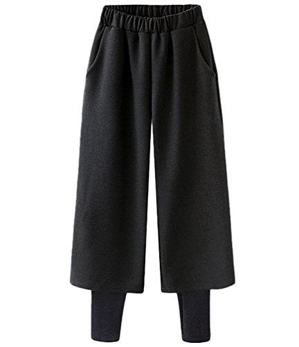 Dooxi Donna Casuale Eleganti Vita Alta Pantaloni Autunno Inverno Sciolto 2 in 1 Leggins e Larghi Pantalone Nero