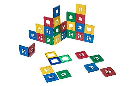 Playmags Colección de Placas magnéticas Edificios: Incluye Fuertes Ventanas magnéticas y Piezas de Colores Transparentes para estimular la Creatividad y el Desarrollo del Cerebro.