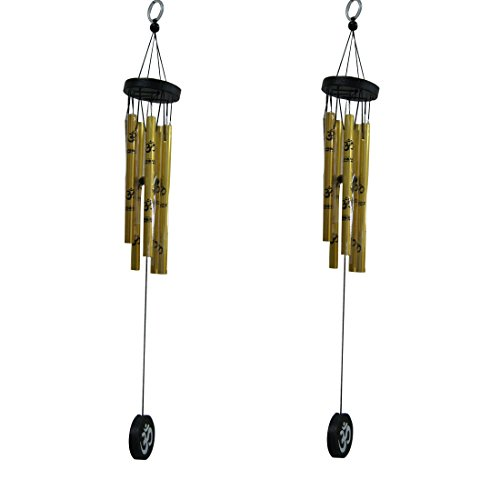 Divya Mantra Feng Shui Om 5 Metal Pipe Wind Chime Good Luck Charm for Positive Energy - Golden, Set of 2  available at amazon for Rs.349