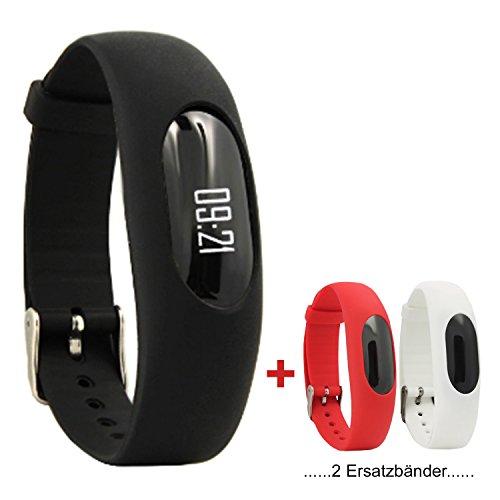 Nakosite MIMI2433 Schrittzähler Armband Aktivitätstracker Uhr OHNE Smartphone handy Bluetooth App für Damen Herren Kinder fitness trackers Pedometer, kalorienzähler armband, Zeit und Datum, Entfernungrechner, Schlafmonitor uhr, Sportuhr mit verbessertem Verschluss. Leichte Einstellungen. Farbe ist schwarz. NEUE VERSION. 2 Ersatzbänder