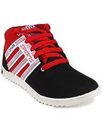 11E HIGH NECK BLACK & RED CASUAL SHOE