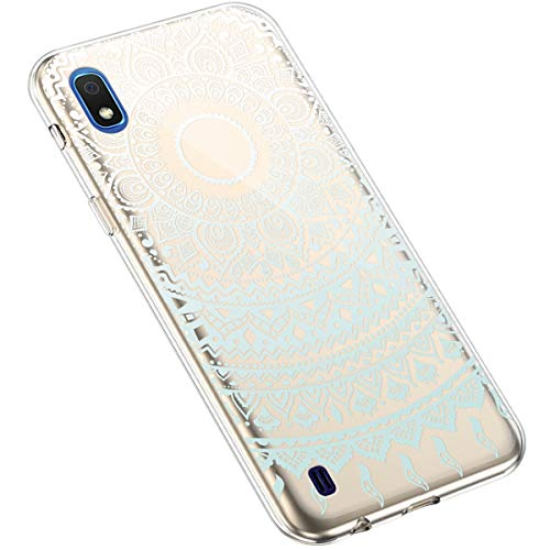 Uposao Kompatibel mit Samsung Galaxy A10 Silikon Handyhülle Durchsichtig TPU Schutzhülle Transparent Blumen Muster Etui Ultra Dünn Weiche Crystal Clear Tasche Case,Mandala Blau Weiß
