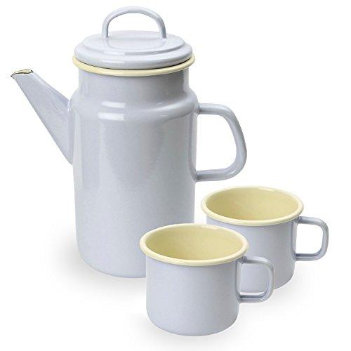 Vintage Home Service à café en émail avec verseur de 2 litres et 2 tasses de 450 ml Gris tourterelle