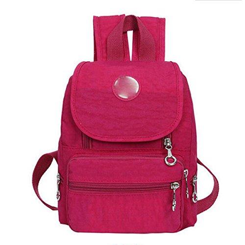 Nylon Wasserdicht Beiläufige Leichte Rucksack Reisetasche,DarkBlue RoseRed