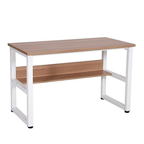 SONGMICS Computertisch Großer Schreibtisch mit Regal 25MM Dicke Bürotisch, Seitenrahmen in Einem Stück Gute Stabilität, Leicht Montiert, PC-Tisch für Büro und Home-Office 120 x 60 cm Eichenfarben LCD75NL